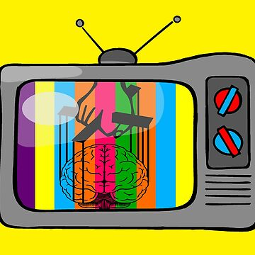 Television with colored bars brain being dominated by the hand of the godfather novelty gifts. by chumi