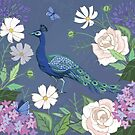 Peacock in a botanical garden by Angie Spurgeon