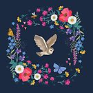 Owl and Wildflowers by Angie Spurgeon