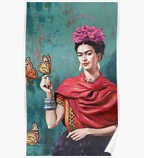 Frida Kahlo und Schmetterlingsfarbe Poster