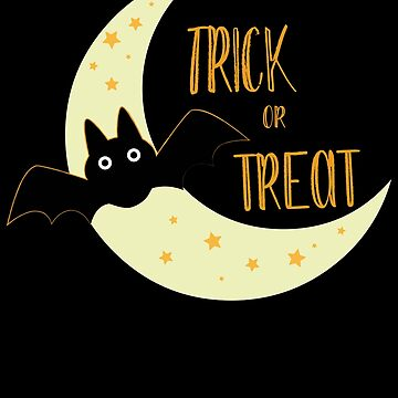 Trick or treat cute bat and moon for Halloween by shadowisper