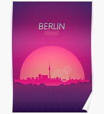 Futuristische Retro Skyline Berlin Poster