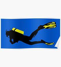 Sport Stilisiert - Taucher mit Taucherflasche und Flossen Poster