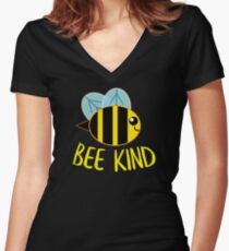 Bee Kind, Be Kind Women's Fitted V-Neck T-Shirt