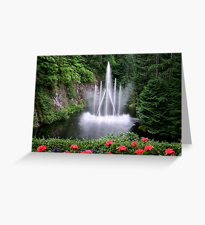 Flowers and the Fountain Greeting Card