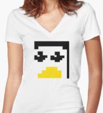 LINUX TUX PENGUIN PIXEL FACE  Women's Fitted V-Neck T-Shirt