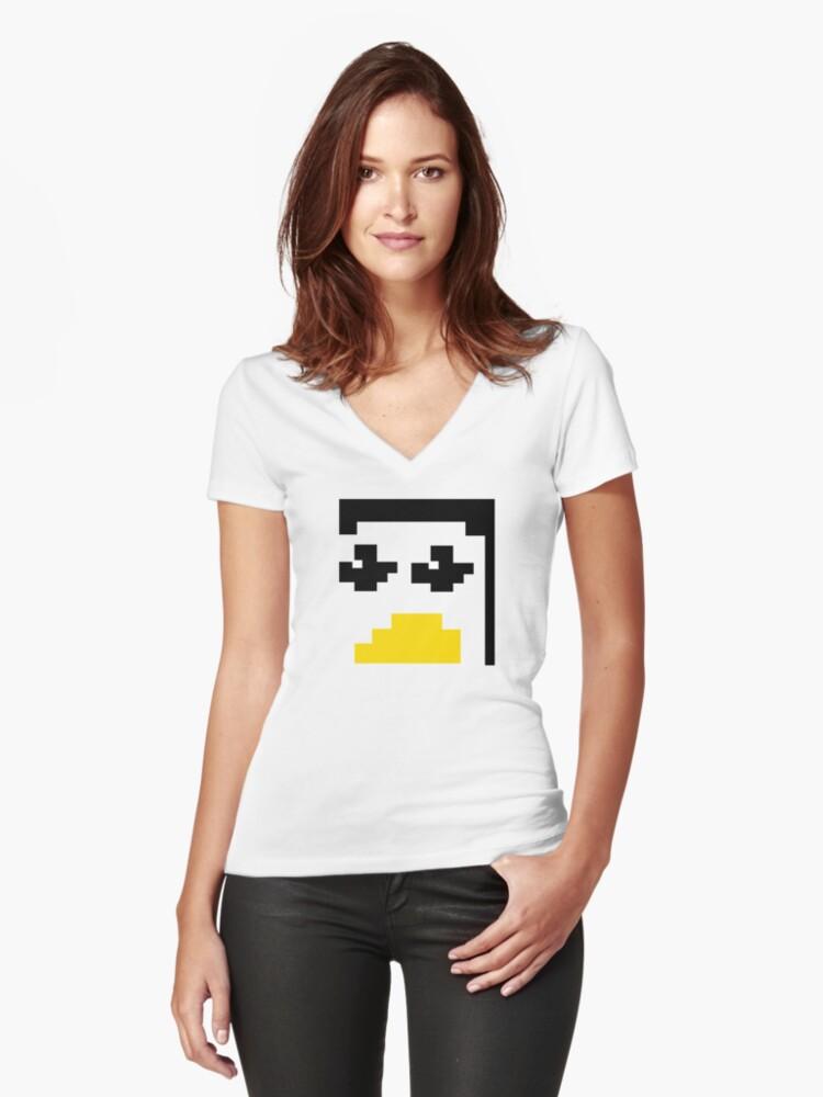 LINUX TUX PENGUIN PIXEL FACE  Women's Fitted V-Neck T-Shirt Front