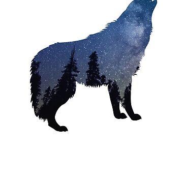 Howling Wolf Nebula Night Sky T-Shirt Starry Sky  by JollyKRogers