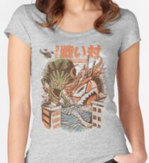 Camiseta entallada de cuello ancho Kaiju Food Fight