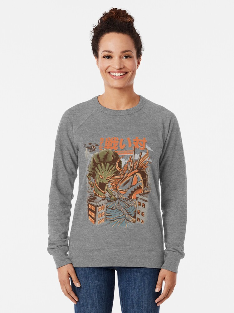 Alternate view of Kaiju Food Fight Lightweight Sweatshirt