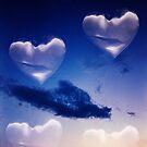 Surrealist romantic love hearts surreal sky multiple exposure by edwardolive
