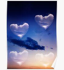Surrealist romantic love hearts surreal sky multiple exposure Poster