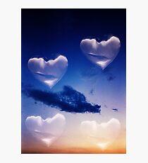 Surrealist romantic love hearts surreal sky multiple exposure Photographic Print