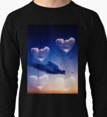 Surrealist romantic love hearts surreal sky multiple exposure Lightweight Sweatshirt