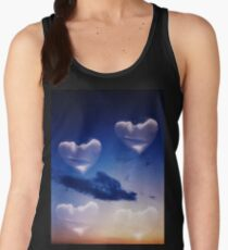 Surrealist romantic love hearts surreal sky multiple exposure Women's Tank Top