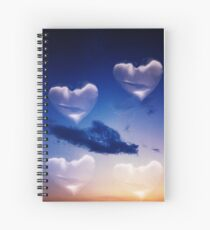 Surrealist romantic love hearts surreal sky multiple exposure Spiral Notebook