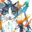 In your Eyes - Colorful cat portrait Art Print by floartstudio