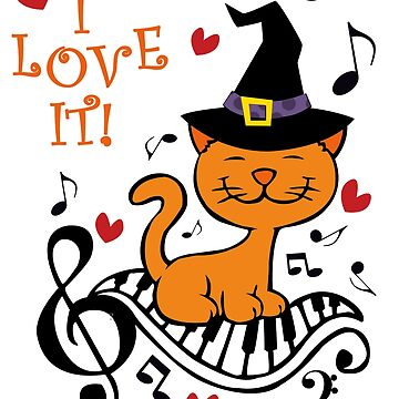 Halloween Gift T Shirt - Cute Musical Witch Keyboard Cat by gtee