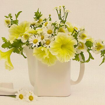 Teapot Of Yellow Petunias And Daisies  by SandraFoster