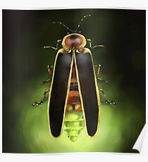 Lightning Bug Painting - Indiana State Bug - Firefly by Ela Steel Poster