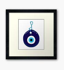 Blue Evil Eye Bead Framed Print