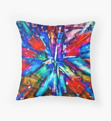Red and Blue Explosion Throw Pillow