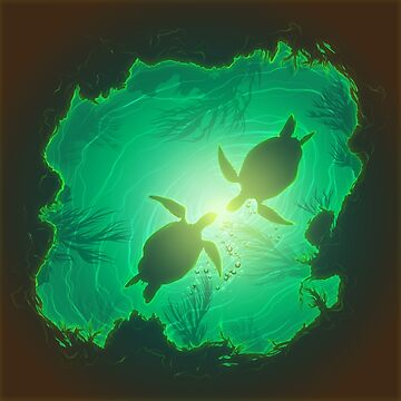 Sea turtle couple in the light by Korey