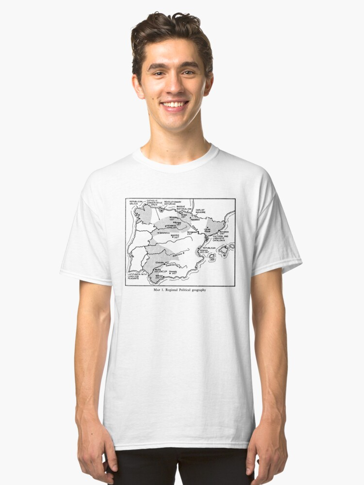 Spanish Republic / Civil War Map Classic T-Shirt Front