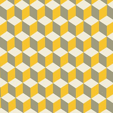 Diamond Repeating Pattern In Yellow Gray and White by taiche