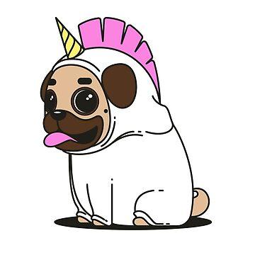 Trick or Treat Cute Pug in a Unicorn Costume by CeeGunn