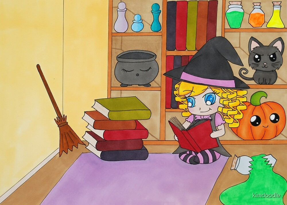 Even witches have to study! by kimdoodle