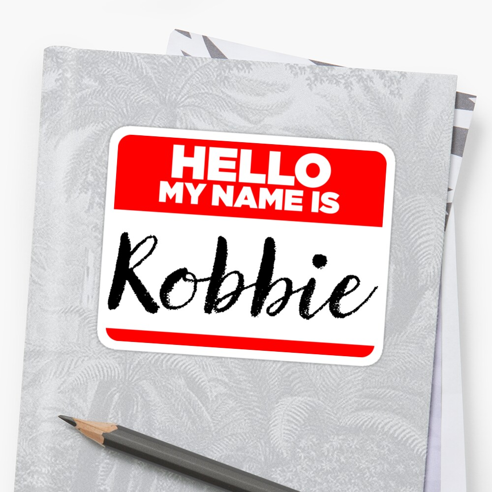 My Name Is... Robbie - Introduction Hipster Sticker Tag by lyssalou2002b