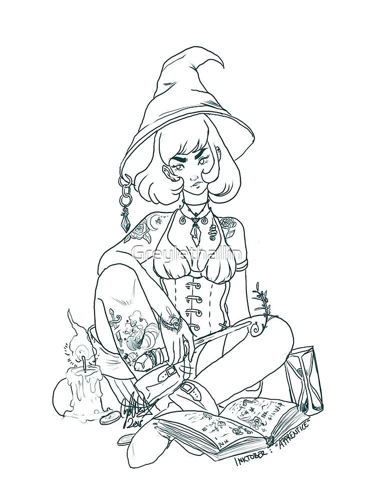 Inktober: Apprentice Witch by Greylethallin
