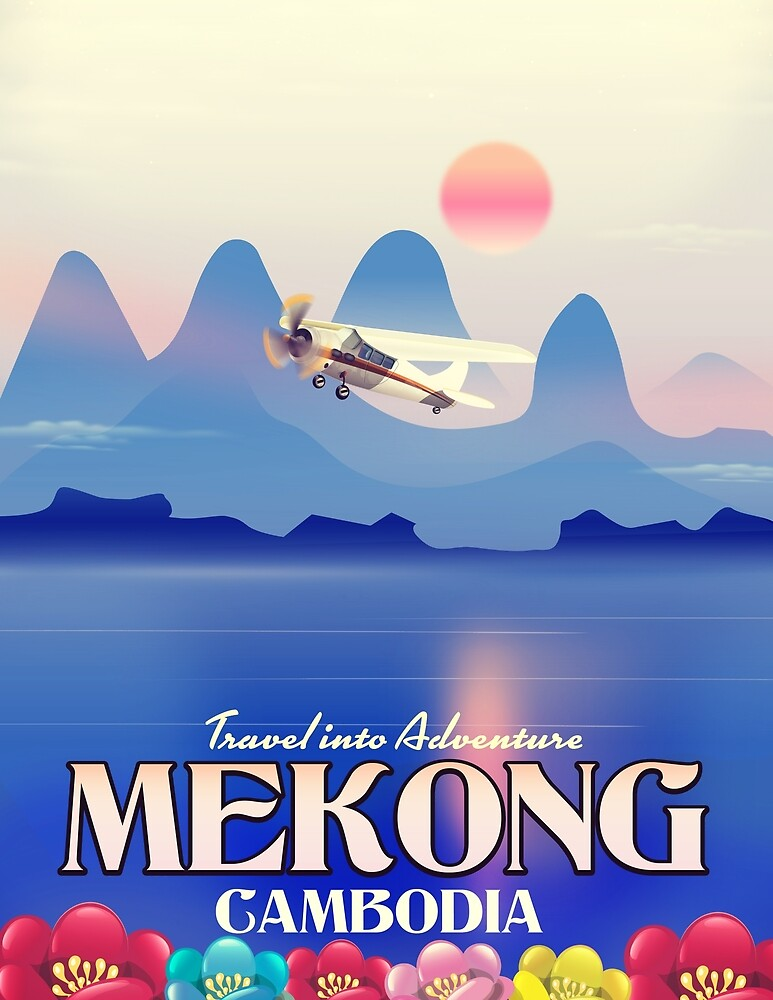 Mekong Cambodia Travel poster print. by vectorwebstore