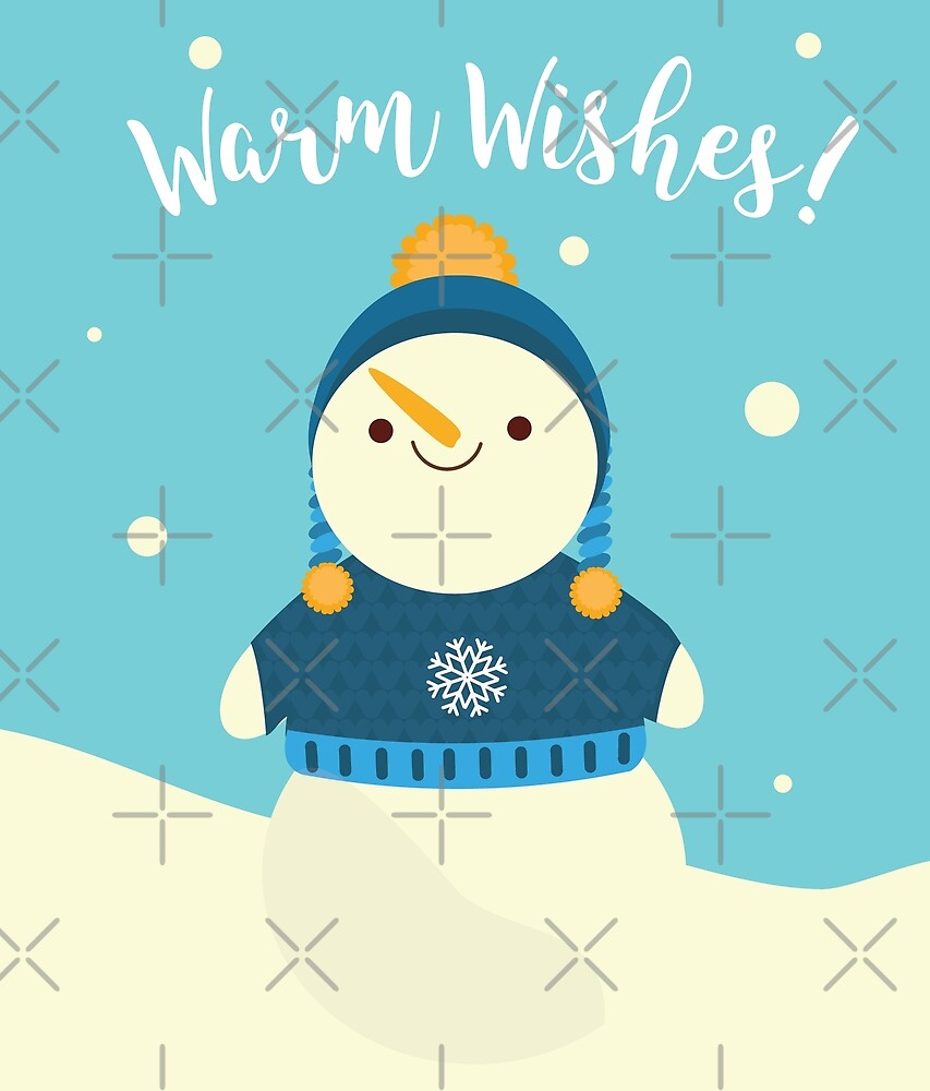 Cute snowman with warm wishes by GennyBunny