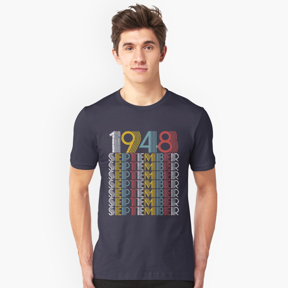 Vintage September 1948 Birthday Gifts Unisex T-Shirt Front