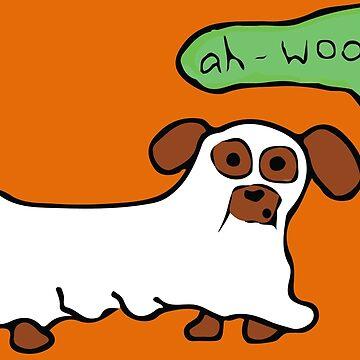 Spooky Halloween Dachshund Dog Ghost by BlackCoffeeCake