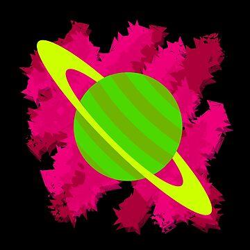 Retro Green Planet Saturn by Grathicks