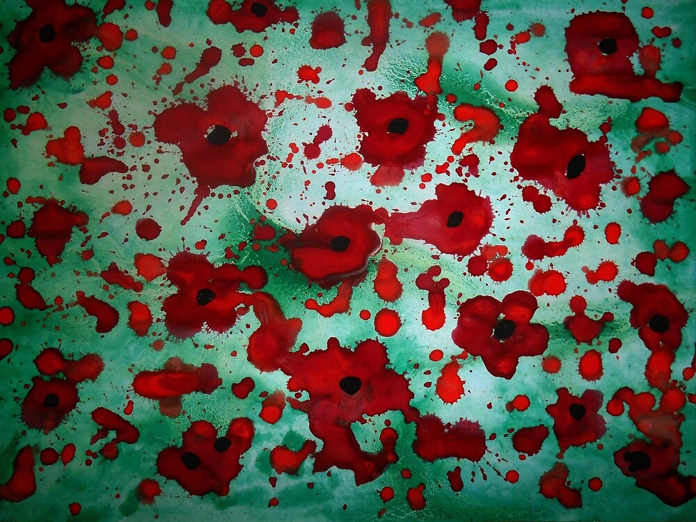 Abstract poppy watercolour painting by pauljart