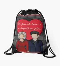 Love in a hopeless place [wall] Drawstring Bag