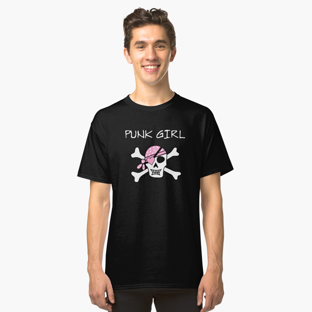 Punk Rock Girl Skull Skull Pirate Classic T-Shirt Front
