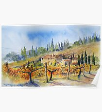 Autumn in the Vineyard Tuscany Poster