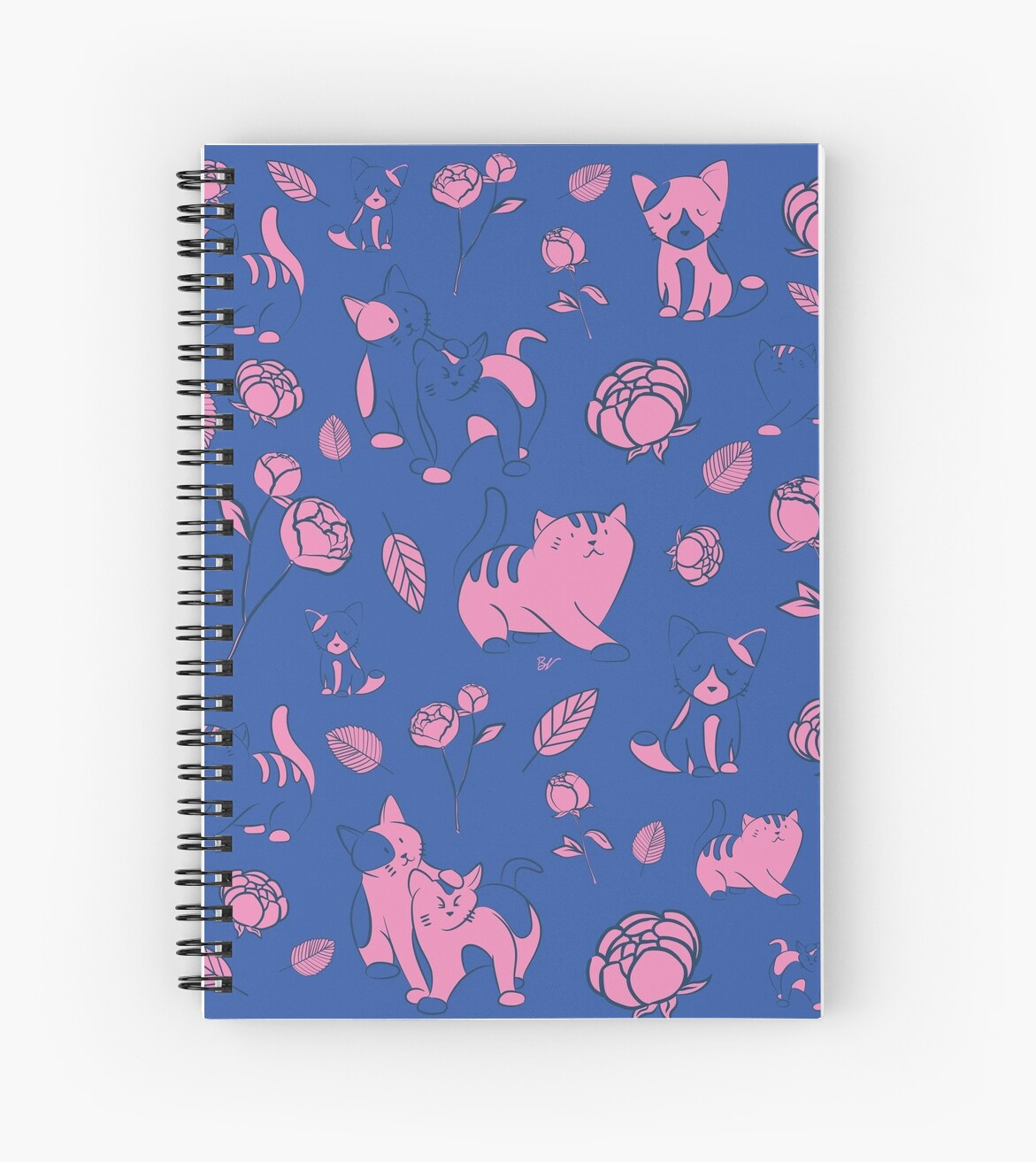 Cats and Peony pink and blue by BlueVein