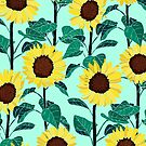 Sunny Sunflowers - Mint  by TigaTiga
