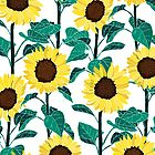 Sunny Sunflowers - White  by TigaTiga