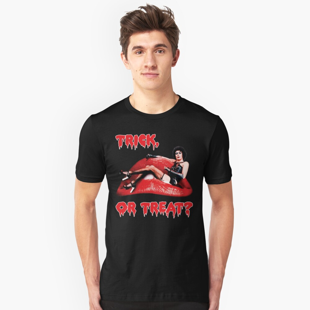 Rocky Horror Picture Show Tim Currie Halloween Trick or Treat Red Lips Unisex T-Shirt Front