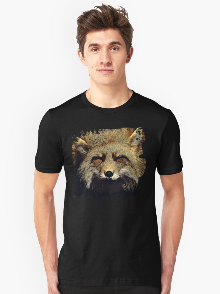 gxp happy fox smiling v2 vector art foggy night Unisex T-Shirt Front