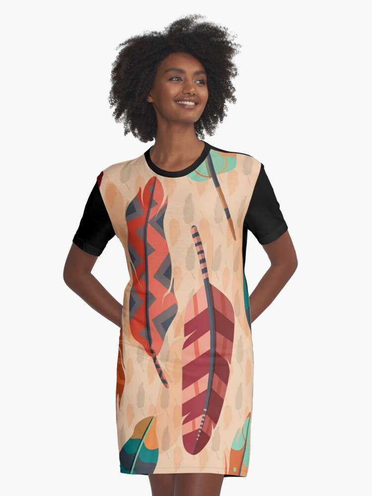 Boho feather  Graphic T-Shirt Dress Front