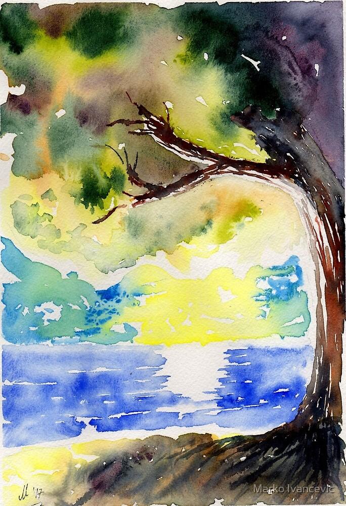 Sunset watercolor by Marko Ivancevic