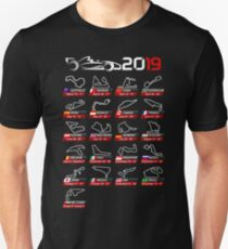 Calendar race cars 2019 circuits sport Slim Fit T-Shirt